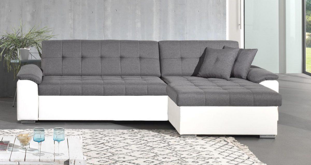 Canapé d'angle réversible convertible en tissu et simili Hans