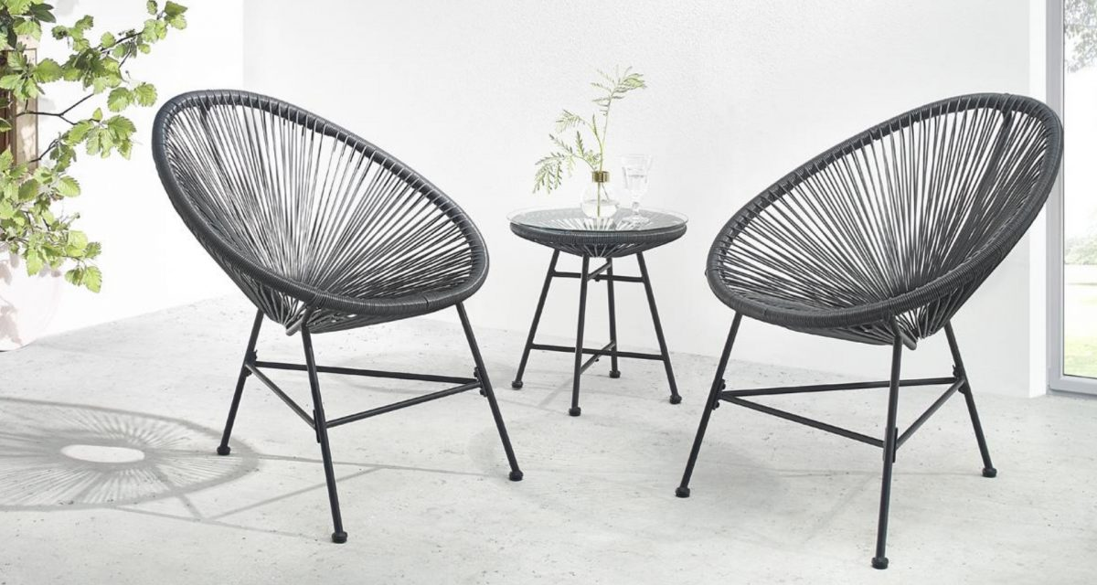 Le salon de jardin BOBOCHIC Pinto, deux fauteuils rétro en cordage PVC