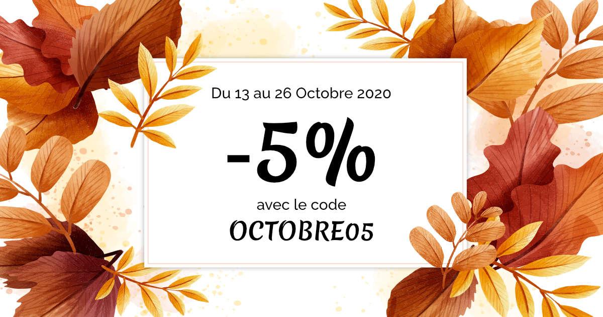 -5% sur tout le site : code promo du mois d'octobre !