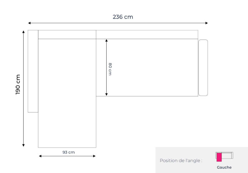 Les dimensions du canapé d'angle gauche Lena
