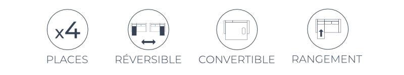 Les atoutes du canapé Nordic : 4 places, angle réversible, fonction convertible