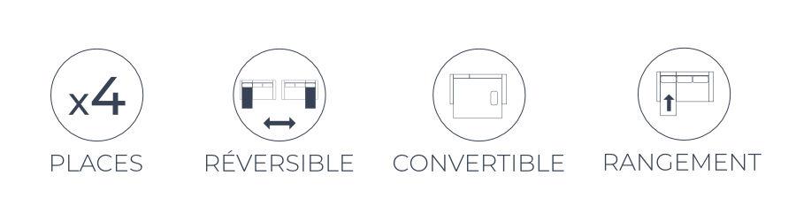 Les points forts du canapé Nordic : angle réversible, fonction convertible facile et coffre de rangement