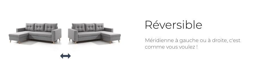 Changez le sens de la méridienne facilement grâce à l'angle réversible du canapé Nordic