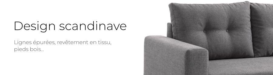 Le design scandinave du canapé Nordic : lignes épurées, revêtement tissu et pieds en bois