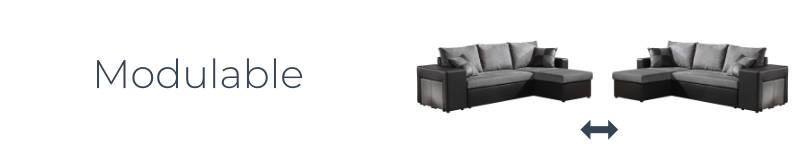 Grâce à son angle réversible, le canapé Toledo est modulable