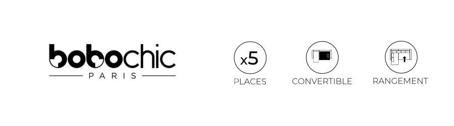 Les points forts du canapé d'angle L Bobochic Lena : 5 places, fonction convertible et coffre de rangement