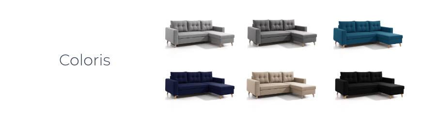 Les coloris du canapé d'angle réversible Nordic : gris clair, gris foncé, bleu canard, bleu marine, esprit lin et noir