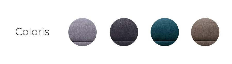 Les coloris du canapé Lena : gris clair, gris foncé, bleu canard et café latté