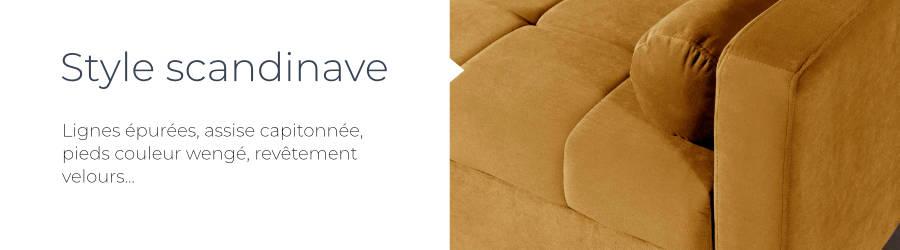 Le design scandinave et le revêtement en velours du canapé d'angle réversible convertible Polar