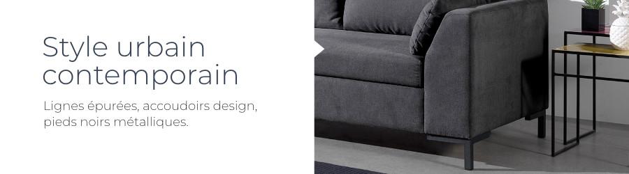 Le design moderne et contemporain du canapé d'angle gauche panoramique convertible Montana