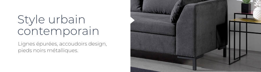 Le design moderne et contemporain du canapé d'angle droit convertible Montana