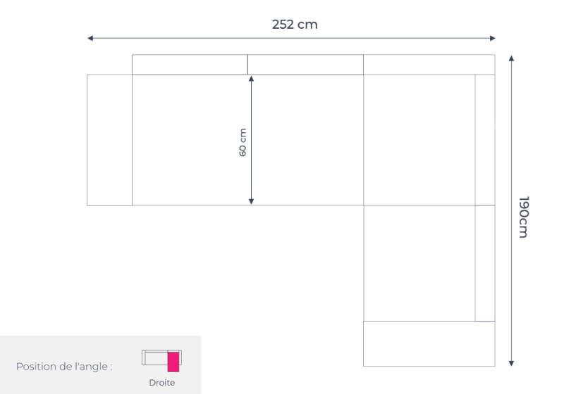 Les dimensions du canapé d'angle droit Linea