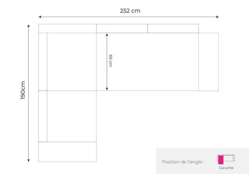 Les dimensions du canapé d'angle gauche Linea