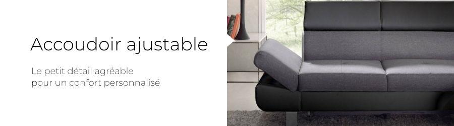 Le canapé d'angle est aussi équipé d'un accoudoir réglable en hauteur