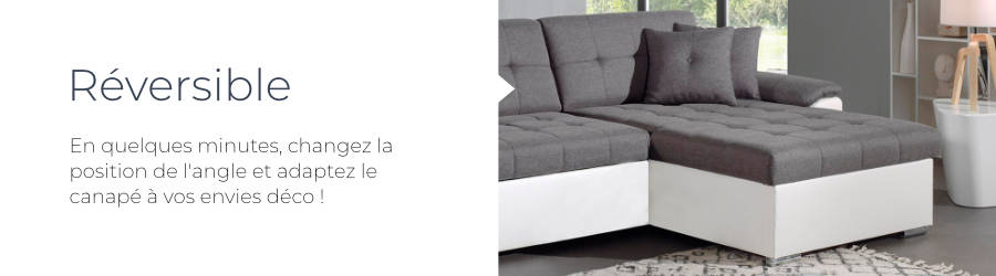 Le canapé Hans est équipé d'un angle réversible qui permet d'intervertir le sens de la mérdienne