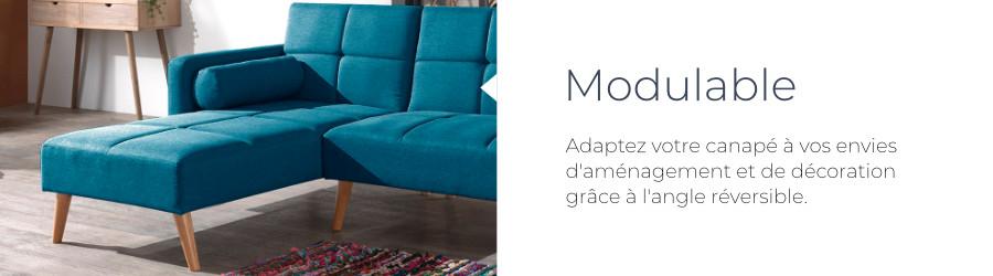 Pratique et modulable, l'angle du canapé Zara est réversible