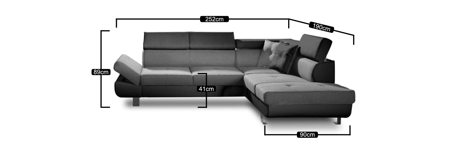 Les dimensions du canapé d'angle gauche Lisbona