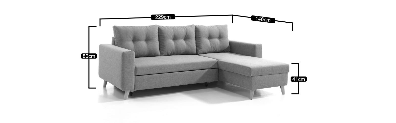 Les dimensions du canapé d'angle réversible Nordic