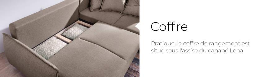 Le canapé Lena est équipé d'un coffre de rangement situé sous l'assise du canapé