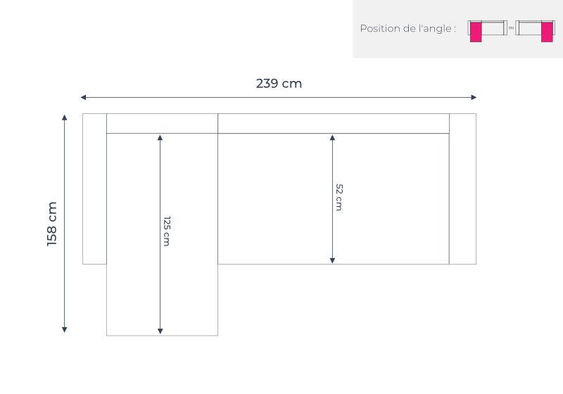Les dimensions du canapé d'angle convertible Folke