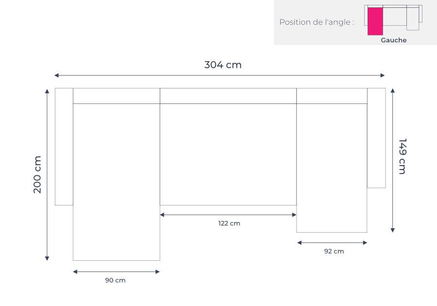 Les dimensions du canapé d'angle panoramique Bobochic Lilly
