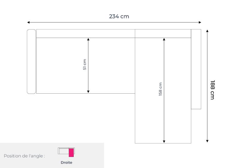 Les dimensions du canapé d'angle droit Nordic L