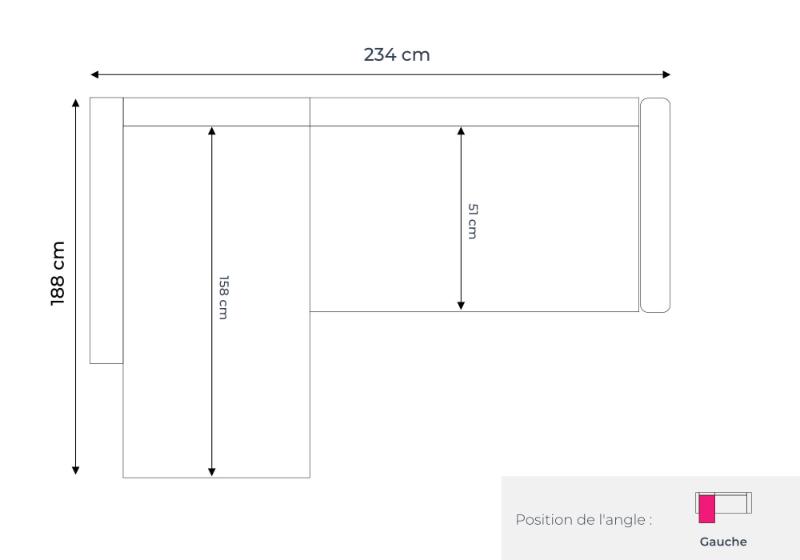 Les dimensions du canapé d'angle gauche Nordic L
