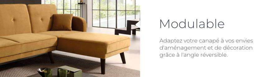 La canapé Olaf de chez Best Mobilier est modulable grâce à son angle réversible