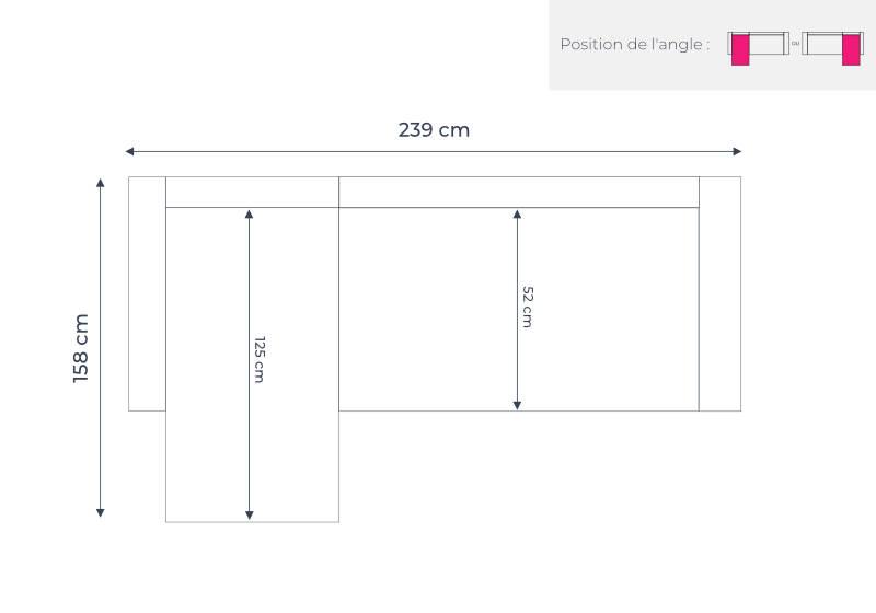 Les dimensions du canapé d'angle Olaf de Best Mobilier