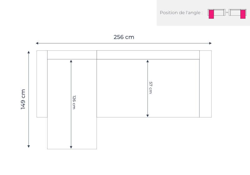 Les dimensions du canapé d'angle réversible Vera