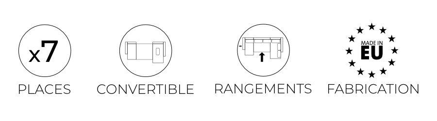 Les caractéristiques du canapé panoramique Ivar : 7 places, convertible, coffre de rangement et fabrication européenne