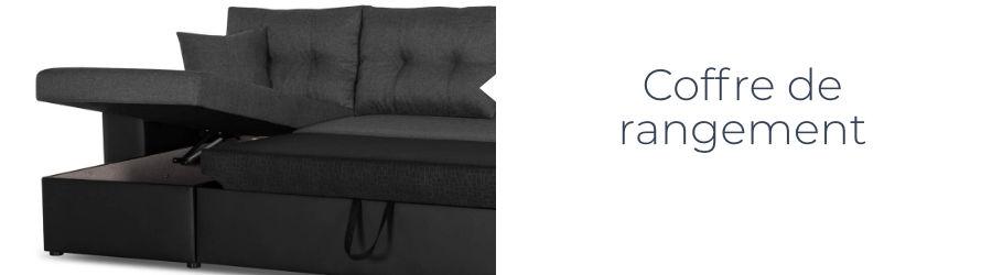 Le coffre de rangement du canapé California est idéal pour y mettre les oreillers et les plaids