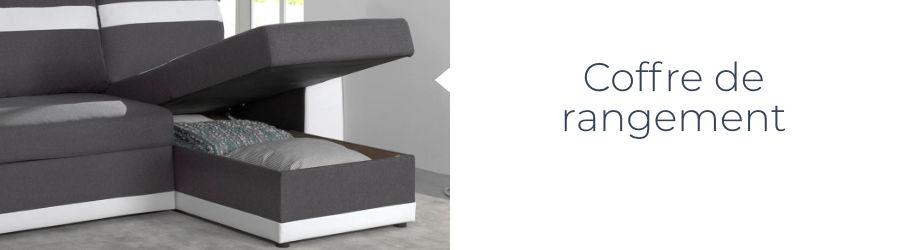 La canapé d'angle Capri est également équipé d'un coffre de rangement situé sous la méridienne