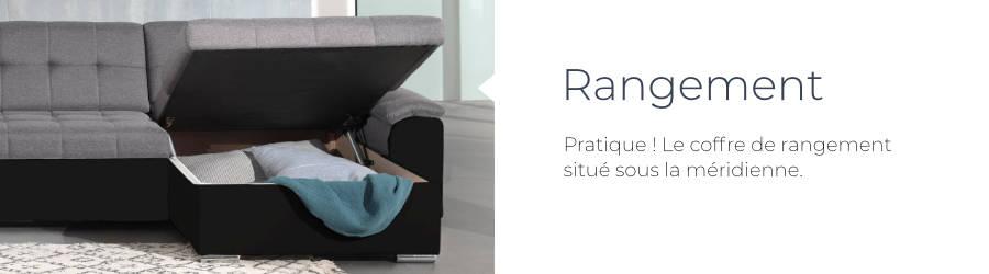 Le canapé d'angle réversible convertible Hans est équipé d'un coffre de rangement