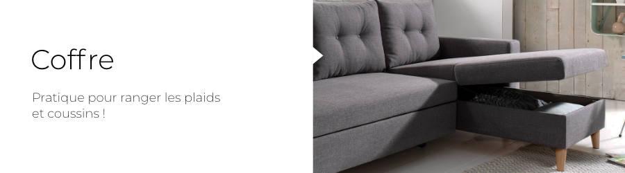 Le canapé Nordic est équipé d'un coffre de rangement situé sous la méridienne