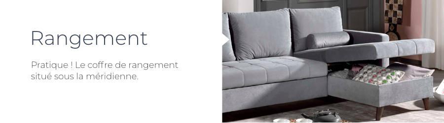 Le coffre de rangement du canapé d'angle Polar permet de garder de l'ordre dans le salon