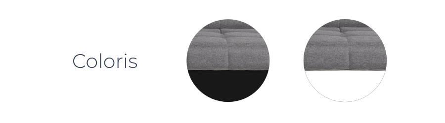 Les coloris bitons du canapé d'angle réversible Hans : blanc/gris et noir/gris