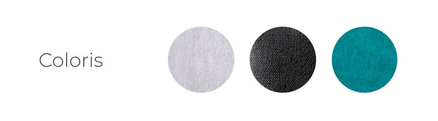 Les coloris du canapé d'angle droit Montana : gris clair, gris foncé et bleu turquoise