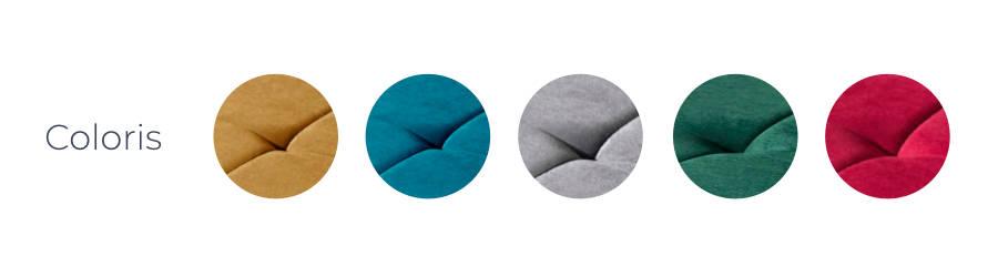 Les coloris du canapé d'angle réversible convertible Polar : bleu, jaune moutarde, gris, rouge et vert