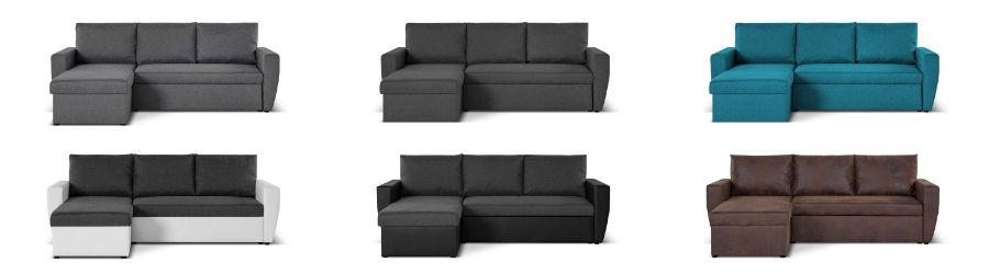 Les couleurs du canapé d'angle réversible convertible Astoria : gris, bleu canard, blanc/gris, noir/gris et marron vieilli