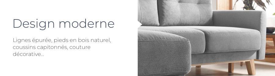 Le style élégant et le design moderne du canapé d'angle en tissu convertible avec coffre Bobochic Balio