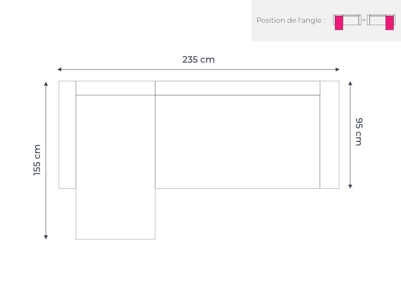 Les dimensions du canapé d'angle réversible Lena