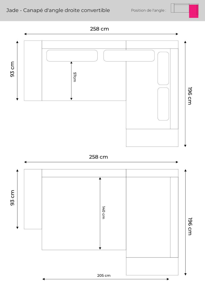 Les dimensions du canapé d'angle droite Jade