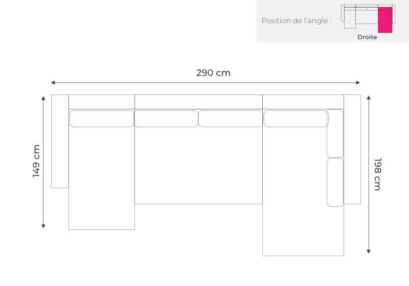 Les dimensions du canapé d'angle droite panoramique Oslo