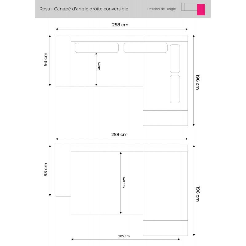 Les dimensions du canapé d'angle droite Rosa