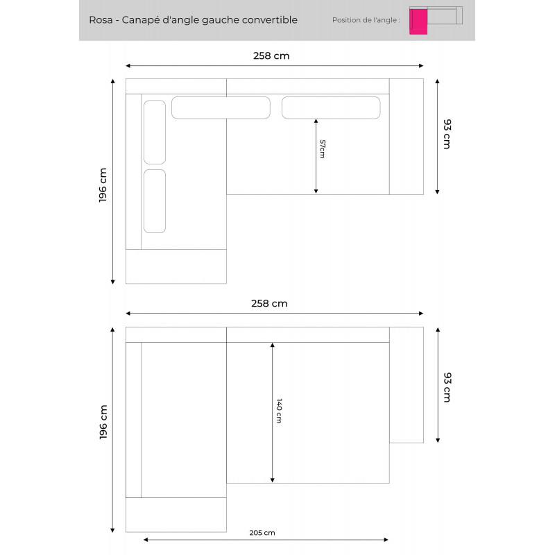 Les dimensions du canapé d'angle gauche Rosa