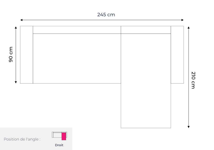 Les dimensions du canapé d'angle panoramique convertible avec coffre Bella