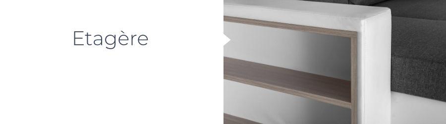 Le canapé d'angle réversible California bicolore est équipé d'une étagère intégrée dans l'accoudoir
