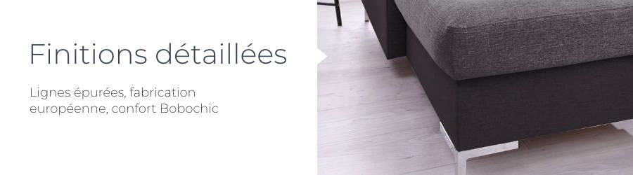 Les finitions détaillées du canapé d'angle panoramique en tissu Lilly : lignes épurées, fabrication européenne, confort Bobochic