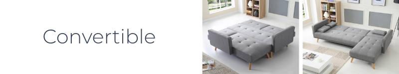 Le canapé d'angle Bobochic Scandinave a une fonction convertible type clic clac
